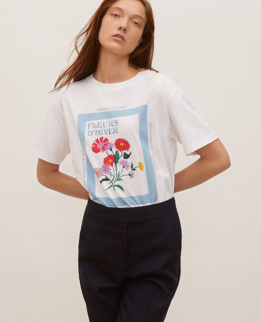 Wide cotton t-shirt FORGET ME NOT
