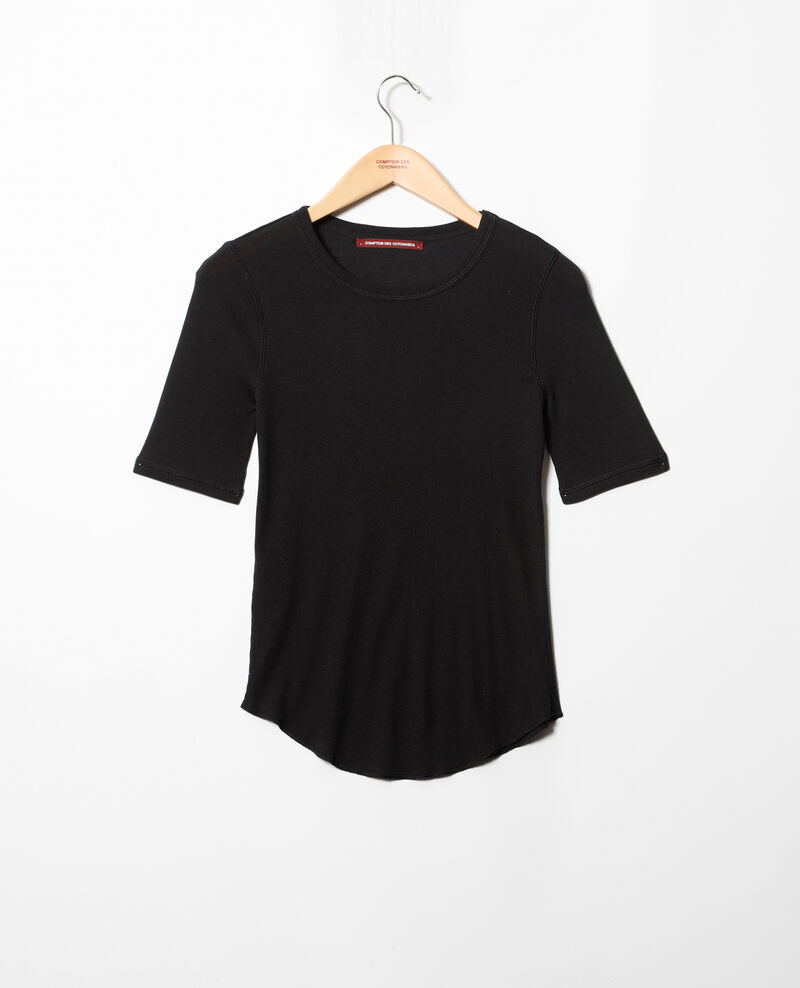 Ribbed t-shirt  Noir Ibabie