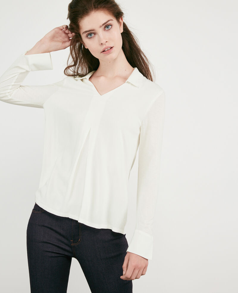 Dual-fabric jersey and crepe shirt  Off white Capados