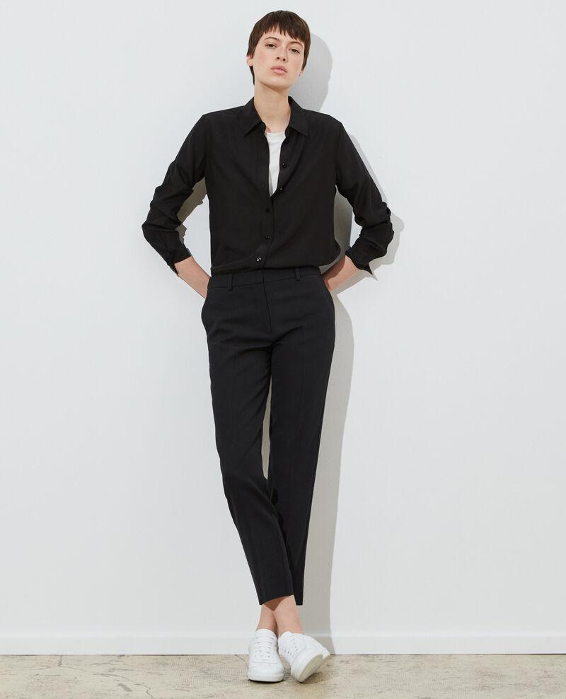 MARGUERITE trousers, wool 7/8 cigarette pants Black beauty Noko
