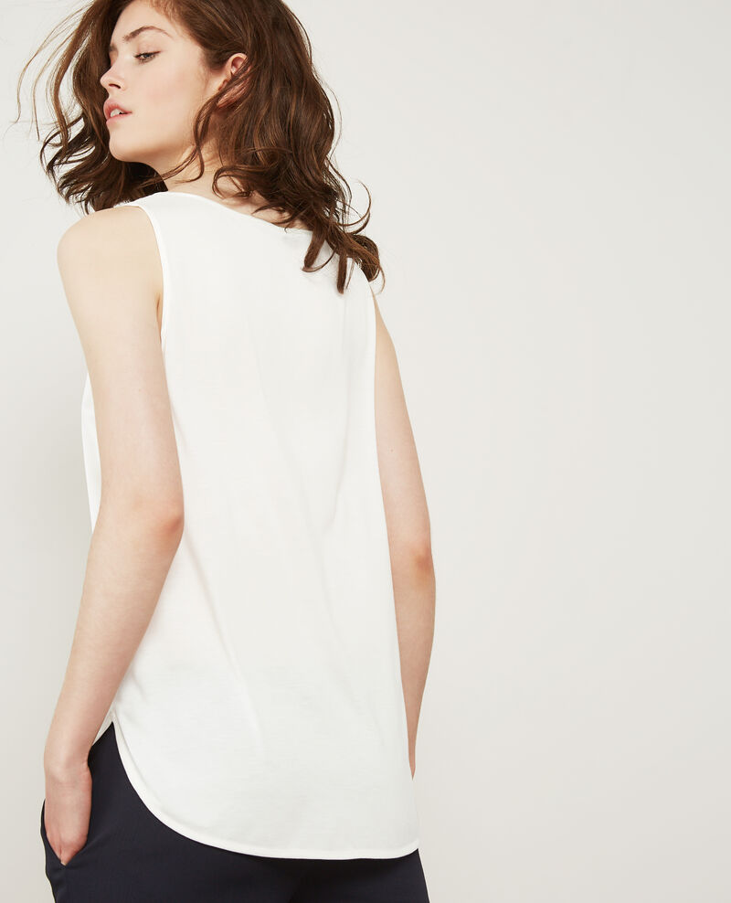 Silk panelled t-shirt Off white Dicton