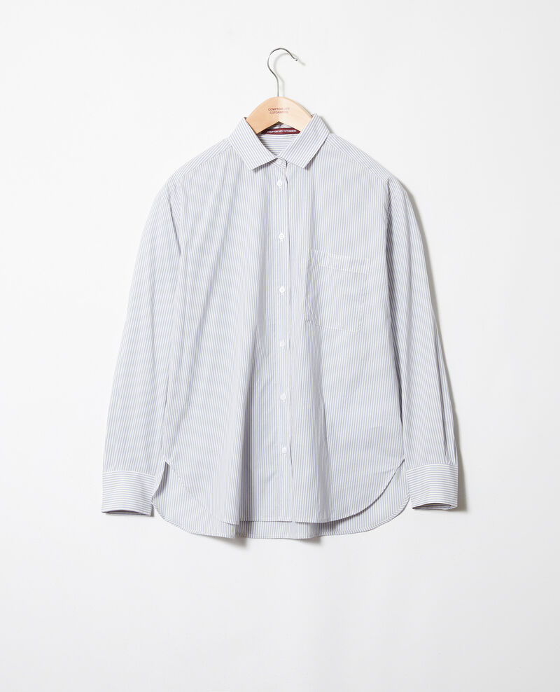Striped cotton shirt Ss navy Jadori