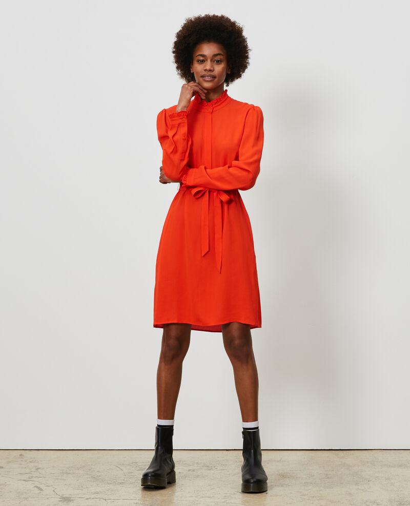 Ruffle neck straight dress Spicy orange Nepal