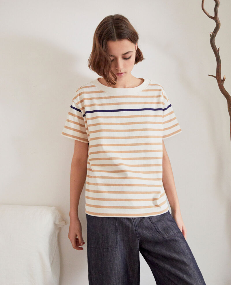 Striped T-shirt Ow/camel/navy Ipanka