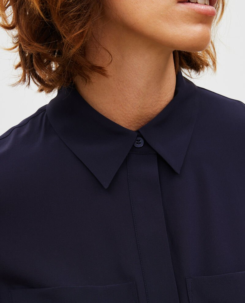 Loose long-sleeve silk shirt Night sky Misabetha