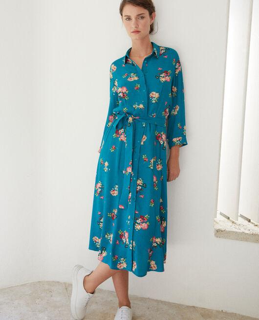 Mid-length dress FLEURS PACIFIC GREEN