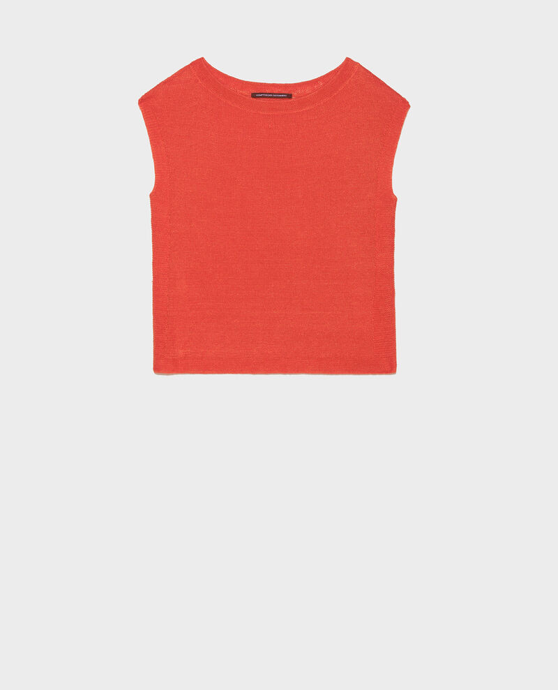 Linen t-shirt Fiery red Lagardiolle