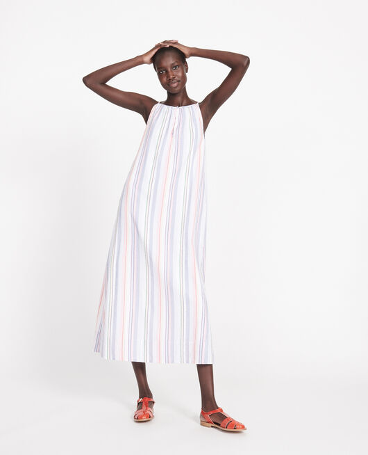 Cotton maxi dress STRIPES MULTICO