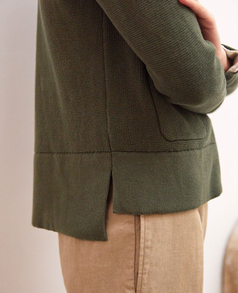 Zip-up cardigan Olive green Ifulie