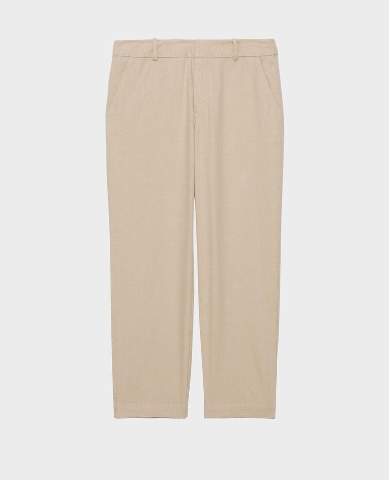 Linen and cotton 7/8 trousers MARGUERITE Oxford tan Laiguillon