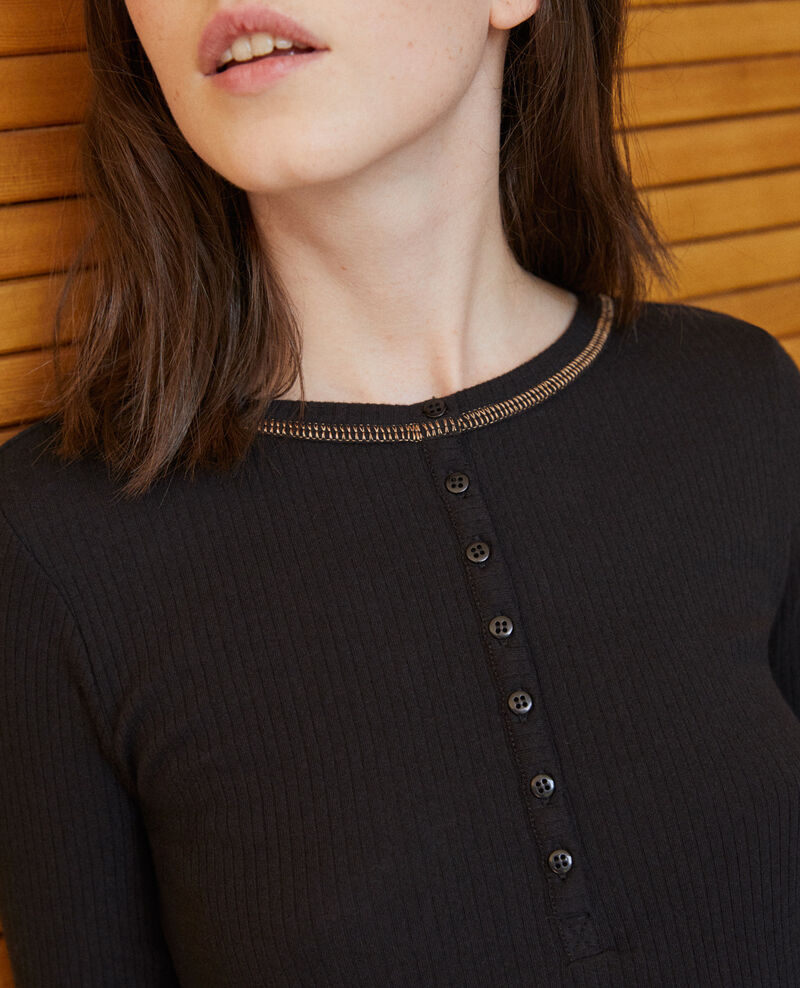 T-shirt with button tab Black Grila