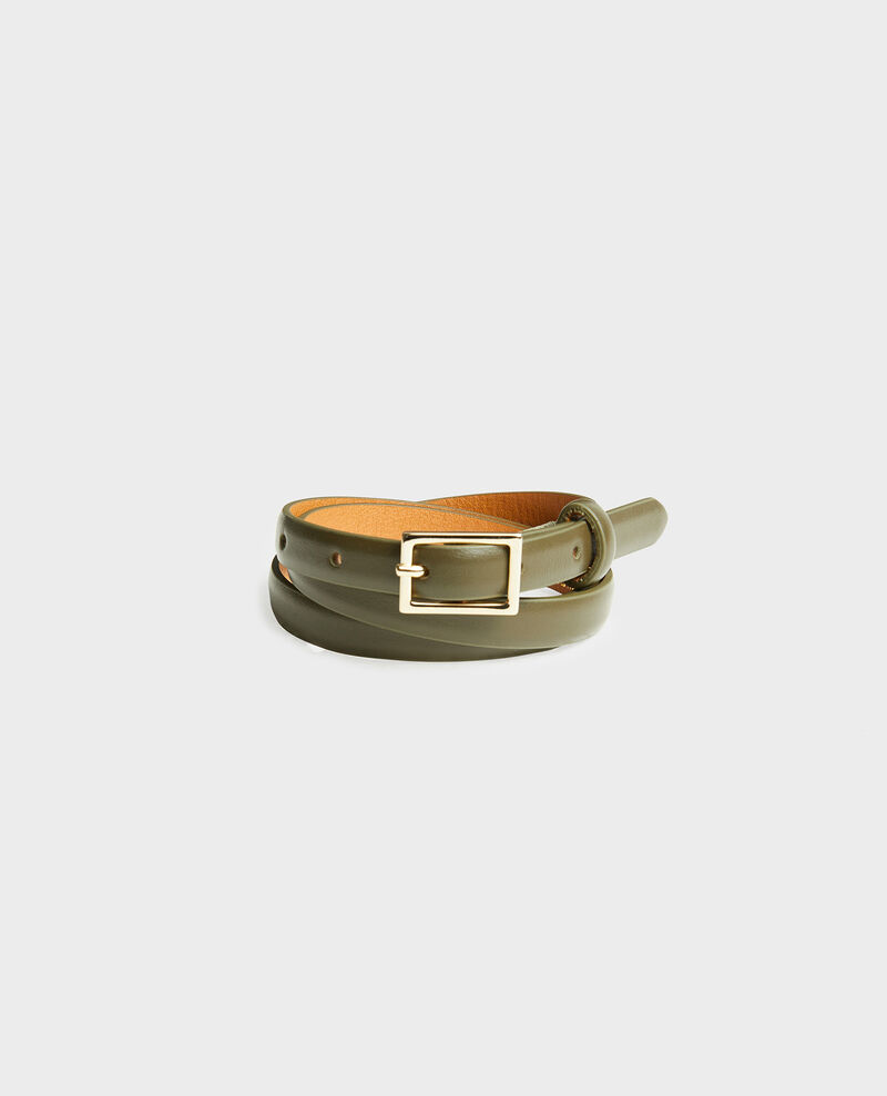 Skinny leather belt with rectangular buckle Military green Meillard