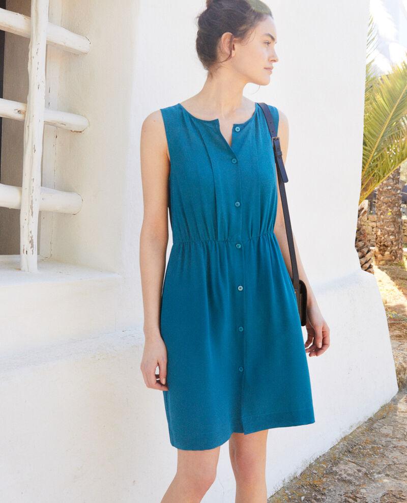 Sleeveless silk dress Turquoise Ilena