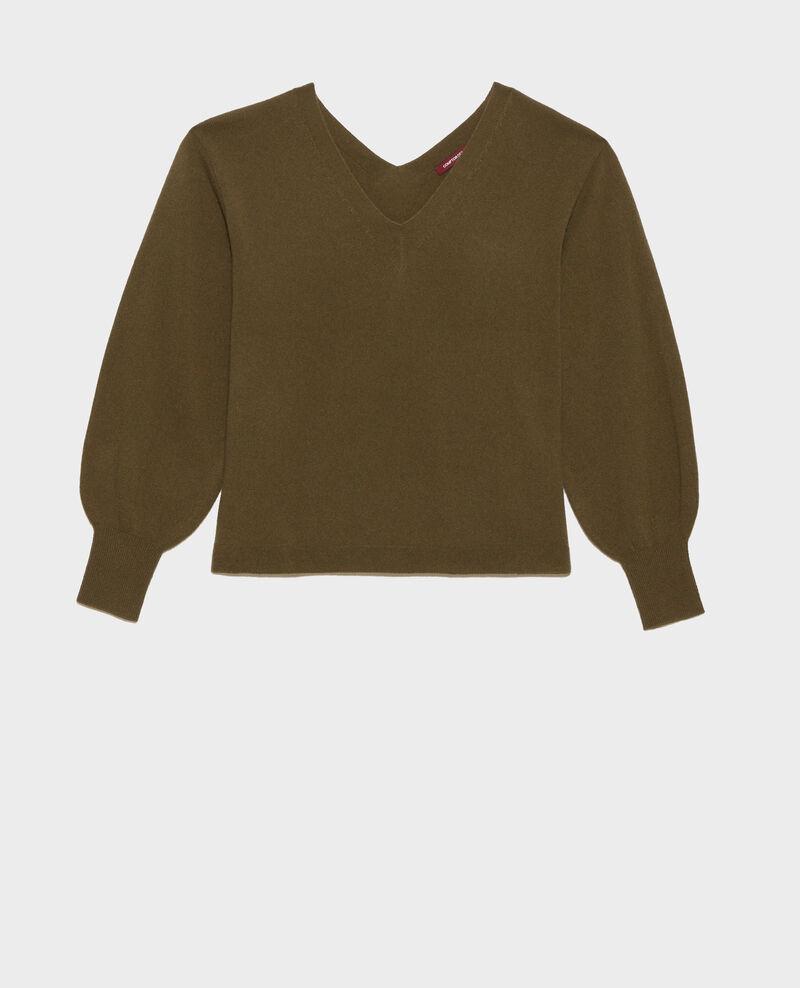 Loose cashmere 3D jumper Dark olive Paulmy