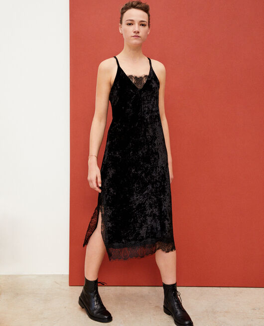 Velvet and lace dress Black