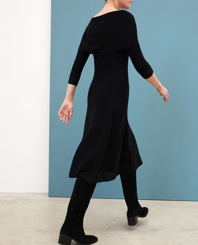 Wholegarment dress with adjustable collar Black Gamelie