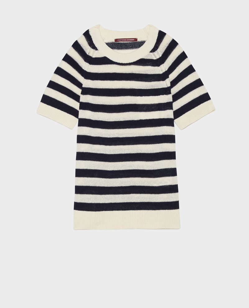 Striped linen and cotton jumper Str maritime butter Licula