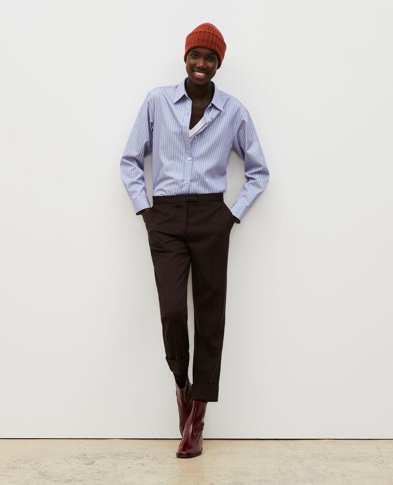 Supima cotton boyfriend shirt Stripe2 blue Myndo