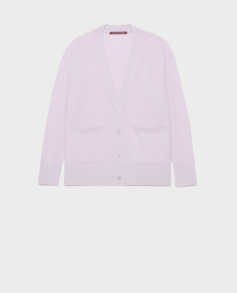 V-neck cashmere cardigan with side splits Pastel lilac Moleano