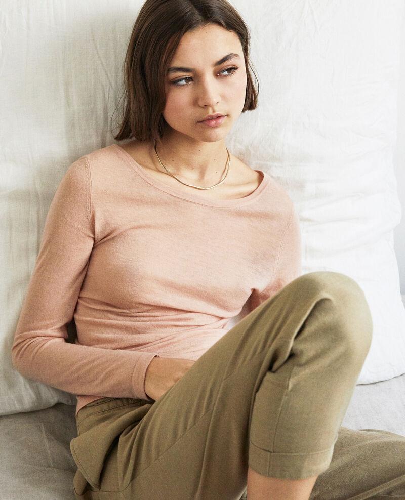 Round neck wool jumper Pink beige Idouard