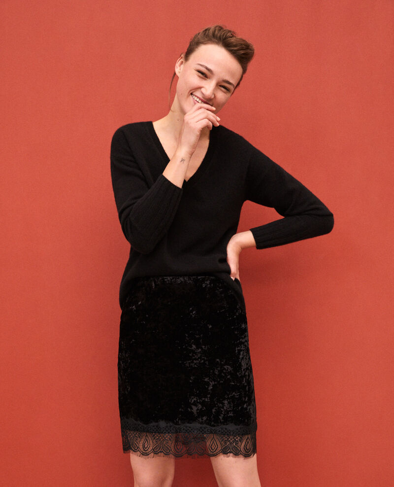 Velvet skirt with lace Black Gristmas