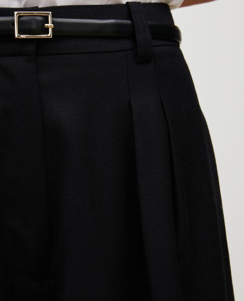 High-waisted wide wool trousers YVONNE Black beauty Mafare