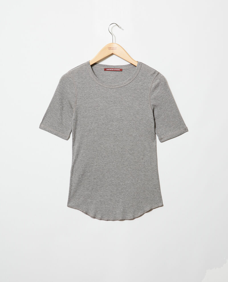 Ribbed t-shirt  Heather grey Ibabie