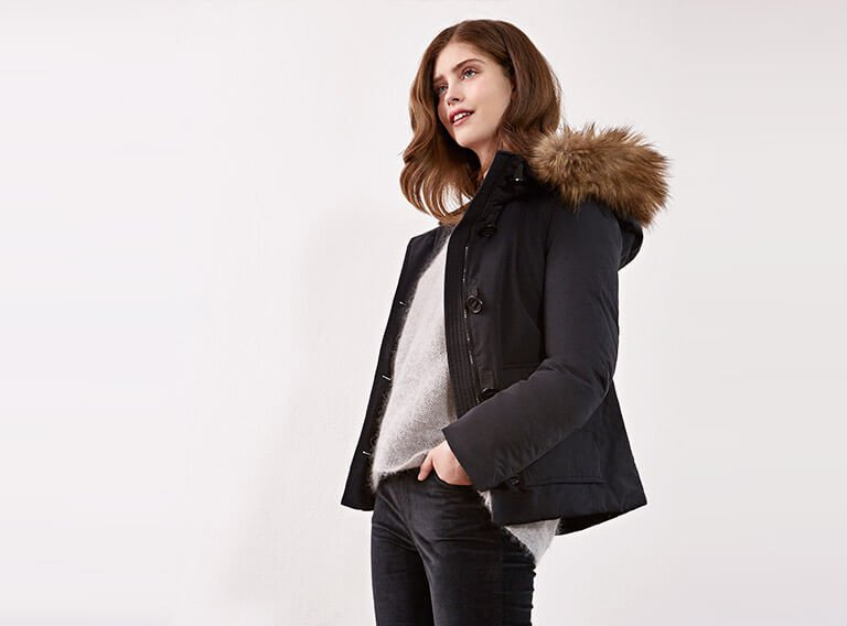 Look - Down jacket with removable faux fur, Mohair jumper