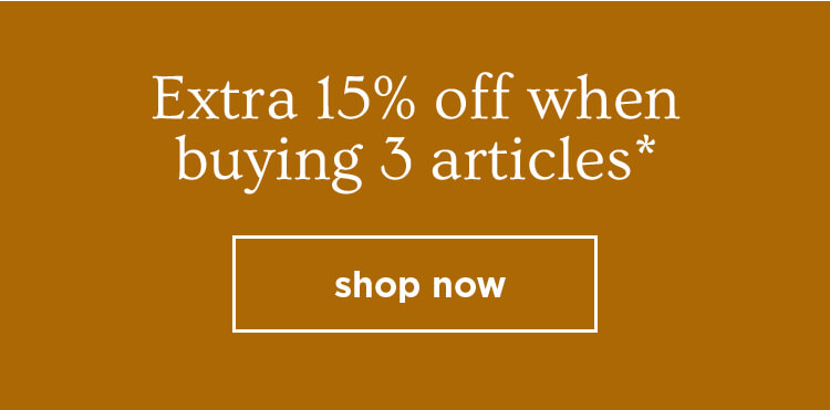 extra 15% off when buying 3 articles