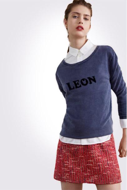 Look - Tweed skirt and sweatshirt